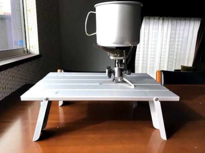 キャプテンスタッグ アルミロールテーブルとシングルバーナー