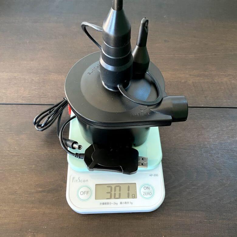 電動エアーポンプ「deeplee」の重量