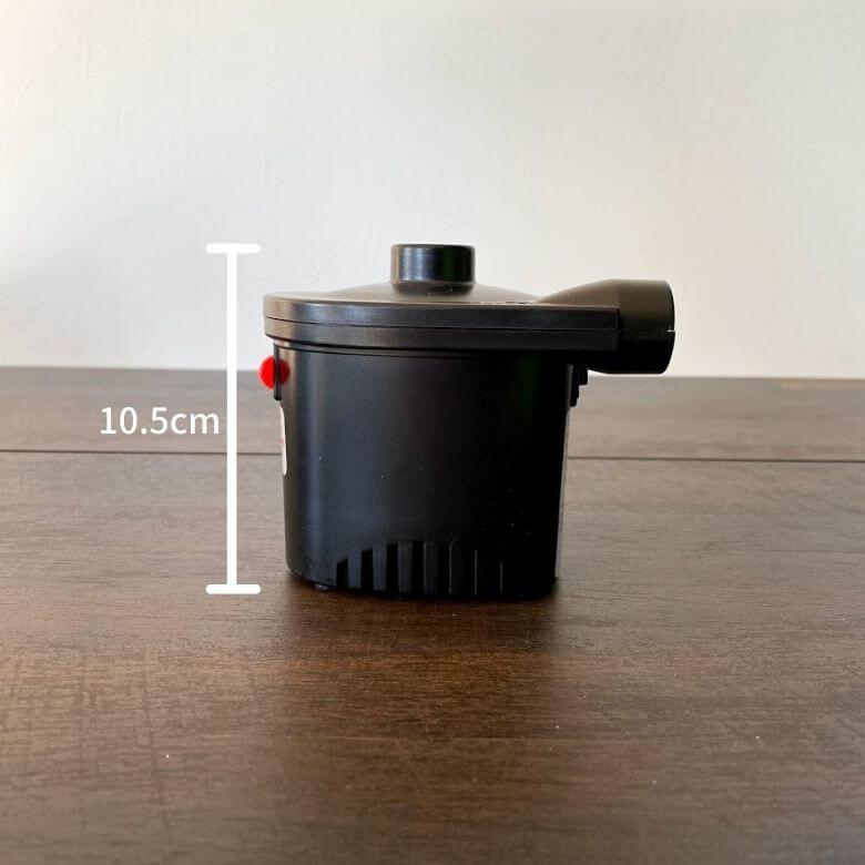 電動エアーポンプ「deeplee」のサイズ