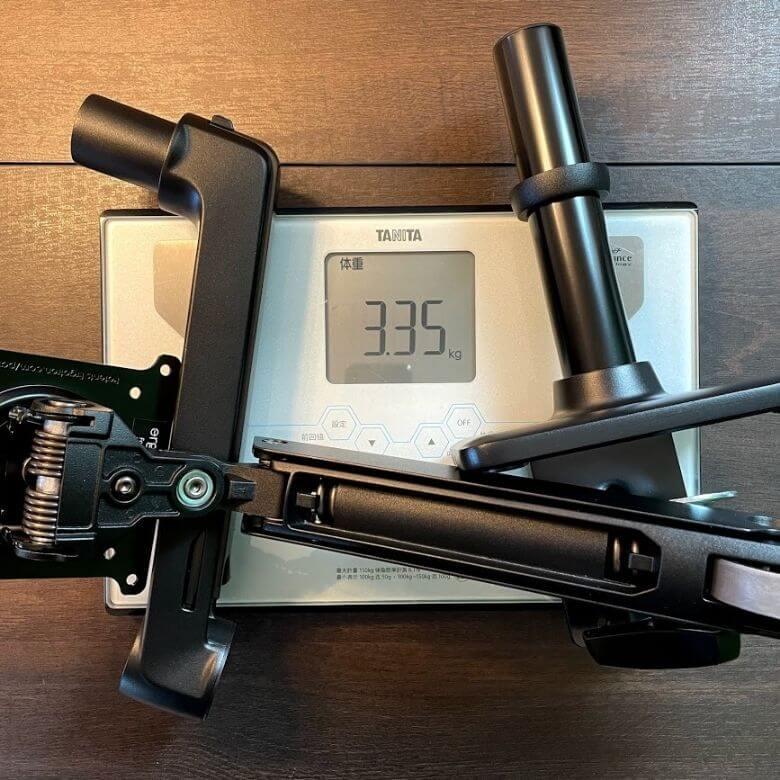 エルゴトロンOEM。HPモニターアームの重さは約3.35kg